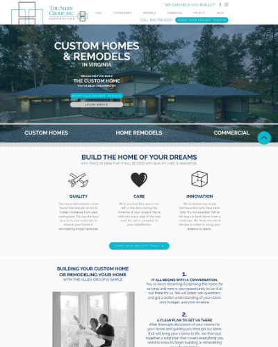 Allen Group Builders of Urbanna, VA Website Design by startsmall. THINKBIG!